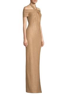 St. John Glamour Sequin Knit Cold-Shoulder Gown
