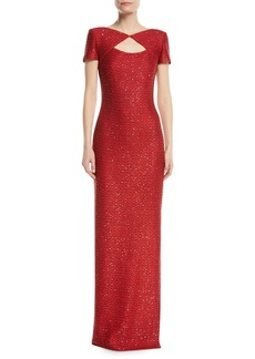 St. John Glamour Sequin Knit Cutout-Front Gown