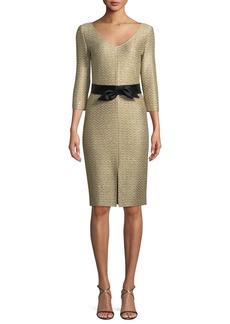 St. John Glamour Sequin Knit V-Neck Dress