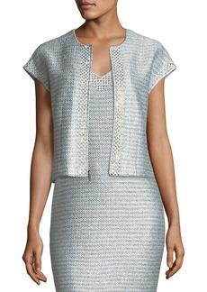 St. John Gleam Metallic Knit Short-Sleeve Jacket