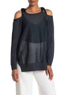 St. John Glitter Cold Shoulder Sweater