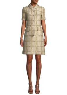 St. John Goldenflag Plaid Knit Short-Sleeve Dress