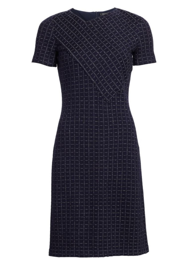 St. John Graphic Boucle Knit Windowpane Dress