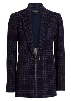 St. John Graphic Boucle Knit Windowpane Jacket