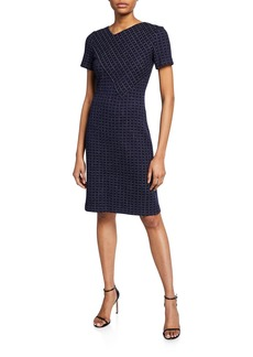 St. John Graphic Boucle Windowpane Knit Asymmetric-Neck Dress