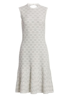 St. John Graphic Ottoman Knit Fit-&-Flare Dress
