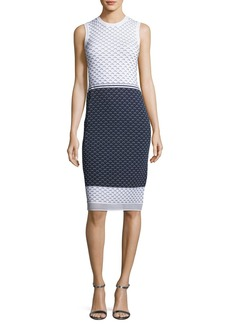 St. John Graphic Ripple-Stitch Knit Sheath Dress