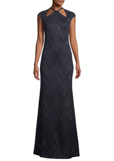 St. John Halter-Neck Cap-Sleeve Mod Zigzag Metallic Knit Evening Gown w/ Sequins