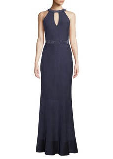 St. John Halter-Neck Sleeveless Luxe Ottoman Knit Evening Gown w/ Sequins