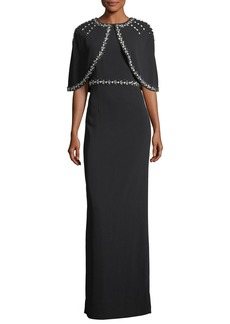 St. John Hand-Beaded Stretch Cady Column Gown w/ Cape