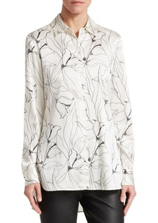 St. John Hand Drawn Floral Stretch-Silk Blouse