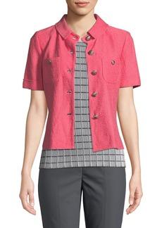 St. John Hannah Knit Button-Front Short-Sleeve Jacket