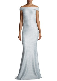 St. John Hansh Off-the-Shoulder Knit Gown