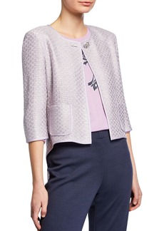 St. John Hansh Sequin Knit 3/4-Sleeve High-Low Jacket