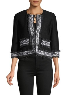 St. John Haxby Embroidery Fringe Crop Jacket