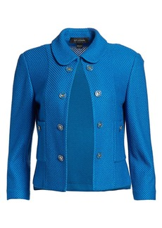 St. John Honeycomb Knit Stretch-Wool Cropped Jacket