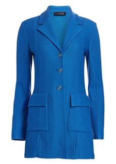 St. John Honeycomb Knit Stretch-Wool Long Jacket