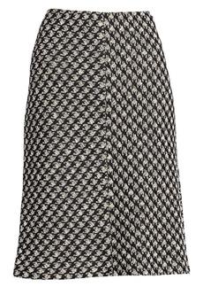 St. John Houndstooth Textured Bouclé Knit A-Line Skirt