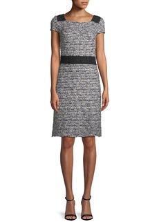 St. John Inlaid Knit Cap-Sleeve A-line Dress