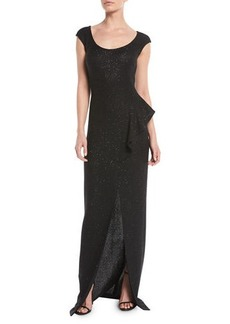 St. John Inlaid Sequin Knit Column Gown