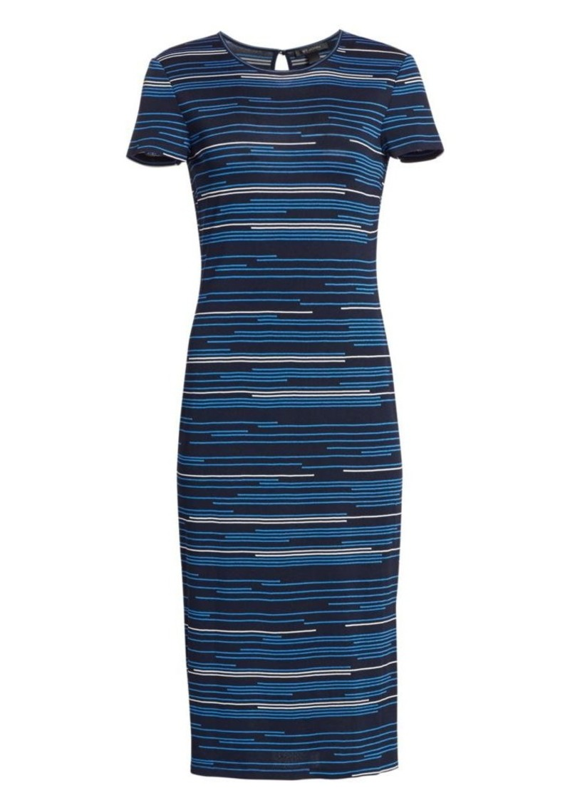 St. John Intarsia Stripe Knit Midi Dress