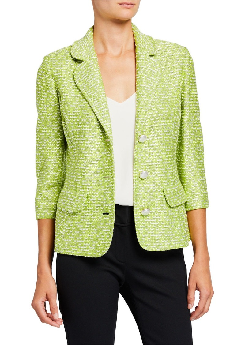St. John Islandia Tweed Notch Lapel Blazer