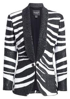 St. John Jacquard Sequin Zebra Blazer Jacket
