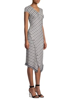 St. John Jacquard Wrap-Hem Dress