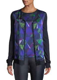 St. John Jersey Knit Cardigan w/ Geo-Print Silk Front