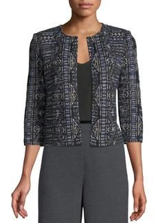 St. John Kian Tapestry-Knit 3/4-Sleeve Jacket