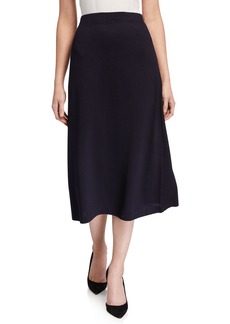 St. John Knit Wool-Blend Pull-On A-Line Skirt