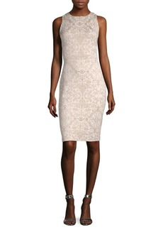St. John Leaf Brocade-Knit Sheath Dress