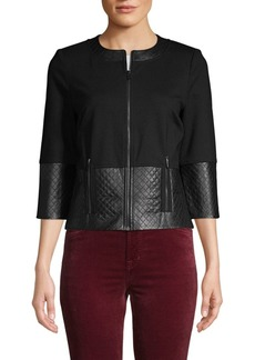 St. John Leather-Trim Double Ponte-Knit Jacket