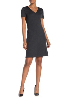 St. John Leather Trim Wool Dress