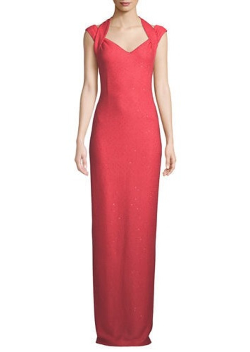 St. John Links Sequin Knit Drape Halter Column Gown