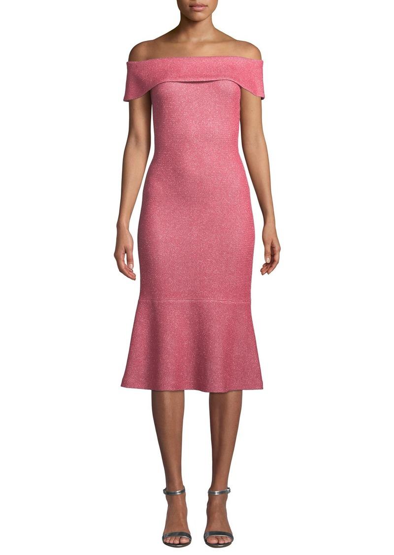 St. John Links Sequin-Knit Off-the-Shoulder Flounce Dress