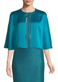 St. John Liquid Crepe Cape w/Sequined Trim