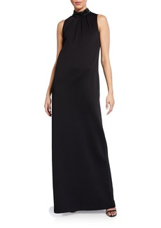 St. John Liquid Milano Knit Mock-Neck Gown