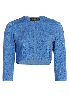 St. John Liquid Milano Stud Knit Crop Jacket