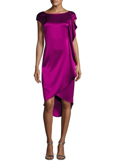St. John Liquid Satin Cap-Sleeve Ruffled Cocktail Dress