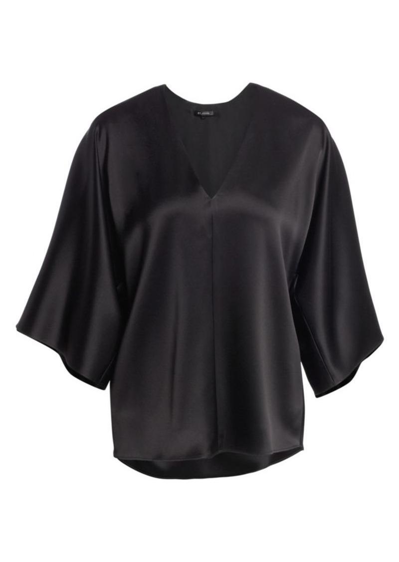 St. John Liquid Satin Kimono-Sleeve Blouse
