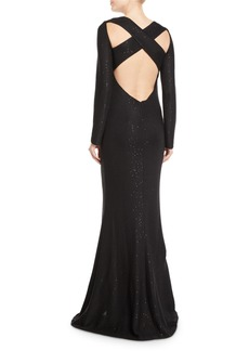 St. John Long-Sleeve Cross-Back Links Sequin Knit Evening Gown