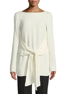 St. John Long-Sleeve Tie-Waist Georgette Top