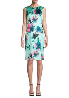 St. John Lotus Blossom Stretch Silk Sheath Dress
