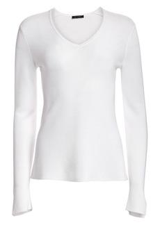 St. John Luxe Links Texture Knit V-Neck Sweater