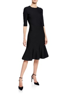 St. John Luxe Sculpture Knit Elbow-Sleeve Fit-and-Flare Dress