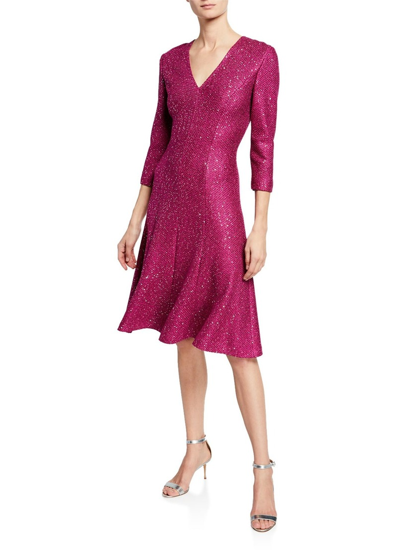 St. John Luxe Sequin V-Neck 3/4-Sleeve Tuck-Knit Dress