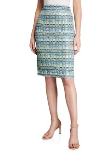 St. John Marble Tweed Knit Pull-On Pencil Skirt