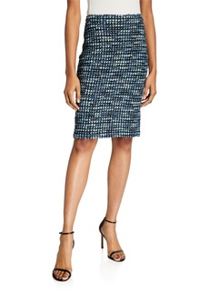 St. John Martinique Tweed Knit Pencil Skirt
