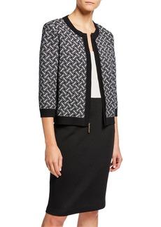 St. John Medallion Knit Jewel-Neck 3/4-Sleeve Zip-Front Cardigan